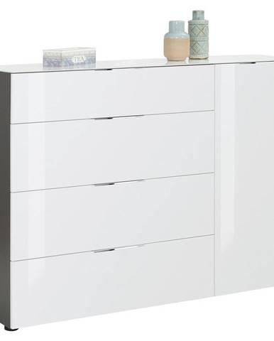 Novel KOMODA, antracitová, biela, farby dubu, 136/100/40 cm - antracitová, biela, farby dubu