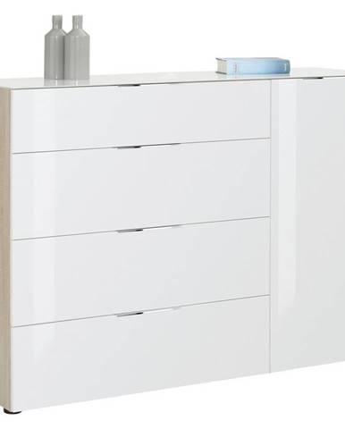 Novel KOMODA, biela, farby dubu, 136/100/40 cm - biela, farby dubu