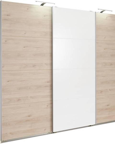 Carryhome Carryhome SKRIŇA S POSUVNÝMI DVERMI, biela, farby dubu, 270/210/65 cm - biela, farby dubu