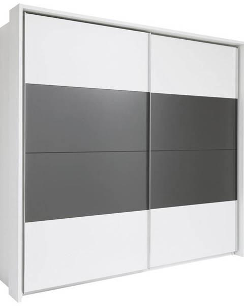 Xora Xora SKRIŇA S POSUVNÝMI DVERAMI, biela, tmavosivá, 240/226/60 cm - biela, tmavosivá