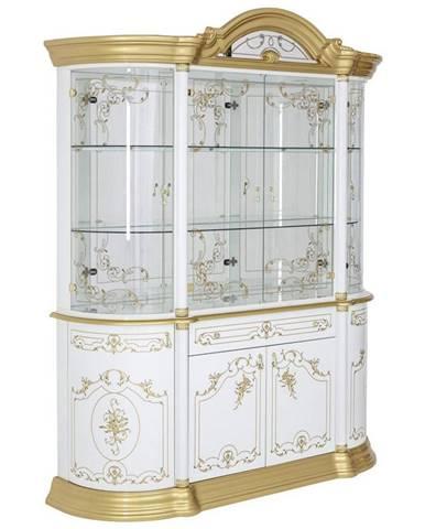Cantus VITRÍNA, biela, zlatá, 189/228/56 cm - biela, zlatá