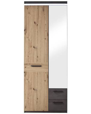 Voleo ŠATNÍKOVÁ SKRIŇA, antracitová, farby dubu, trámový dub, 75/201/38 cm - antracitová, farby dubu