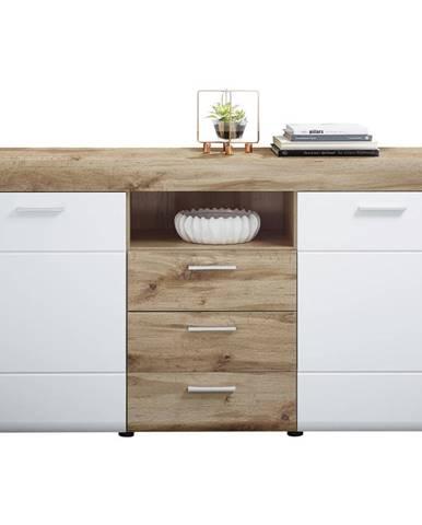 Xora KOMODA, biela, farby dubu, 160/87/44 cm - biela, farby dubu