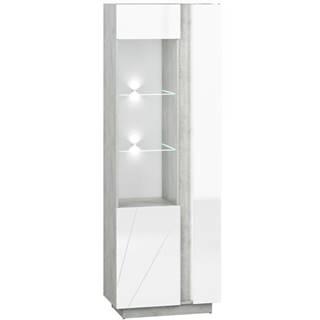 Vitrína Lumens 03L biely lesk/betón
