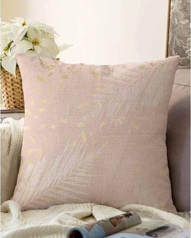 Svetloružová obliečka na vankúš s prímesou bavlny Minimalist Cushion Covers Leaves, 55 x 55 cm