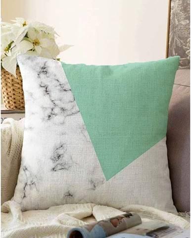 Zeleno-sivá obliečka na vankúš s prímesou bavlny Minimalist Cushion Covers Marble, 55 x 55 cm