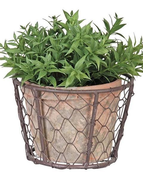 Esschert Design Drôtený kôš s terakotovým kvetináčom Esschert Design