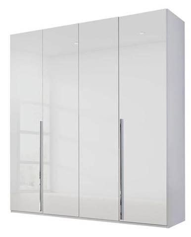 Šatníková skriňa COLIN alpská biela/vysoký lesk, 4 dvere, zrkadlo vo vnútri