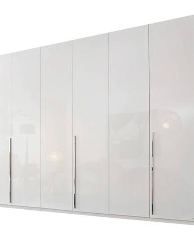 Šatníková skriňa COLIN alpská biela/vysoký lesk, 6 dverí, zrkadlo vnútri