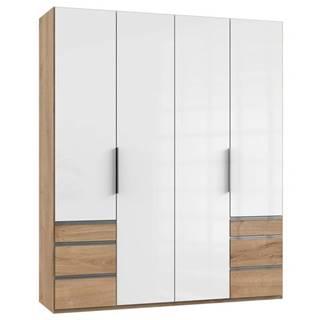 Šatníková skriňa ELIOT dub/biela, 4 dvere