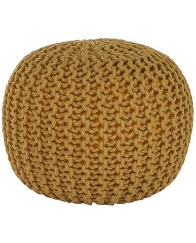 Pletený taburet horčicová bavlna GOBI TYP 2