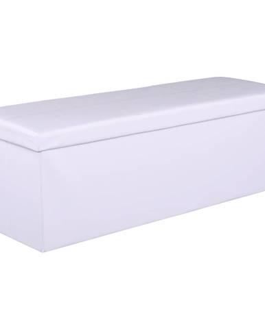 Skladací taburet biela ekokoža ZAMIRA