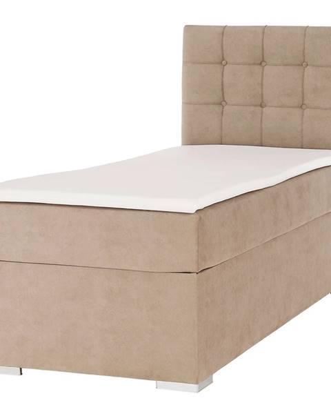 Kondela Boxspringová posteľ jednolôžko svetlohnedá 90x200 pravá DANY