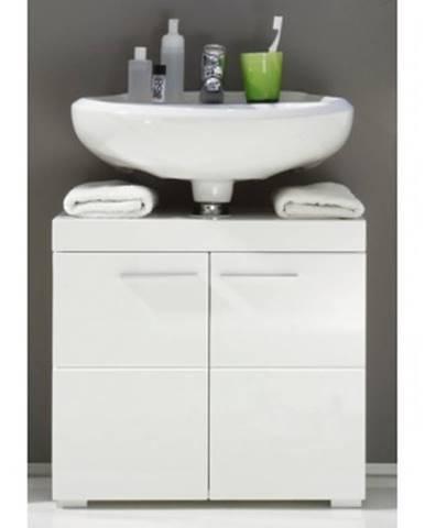 Kúpeľňová skrinka pod umývadlo Amanda 301, lesklá biela%