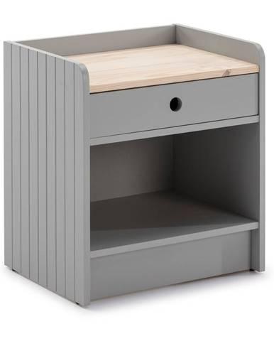 Svetlosivý nočný stolík s doskou z borovicového dreva Marckeric Monte