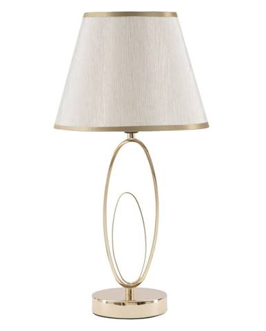 Biela stolová lampa s konštrukciou v zlatej farbe Mauro Ferretti Flush