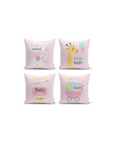 Súprava 4 dekoratívnych obliečok na vankúše Minimalist Cushion Covers Baby Girl, 45 x 45 cm
