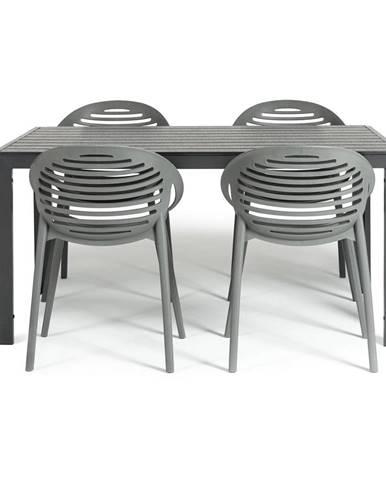 Sivá záhradná súprava nábytku pre 4 osoby Le Bonom Viking