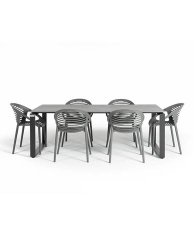 Sivá záhradná súprava nábytku so 6 stoličkami Le Bonom Joanna Strong