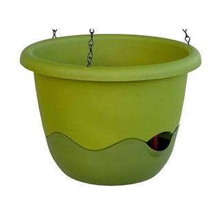 Samozavlažovací závesný kvetináč Mareta, zelená, 30 cm, Plastia, pr. 30 cm