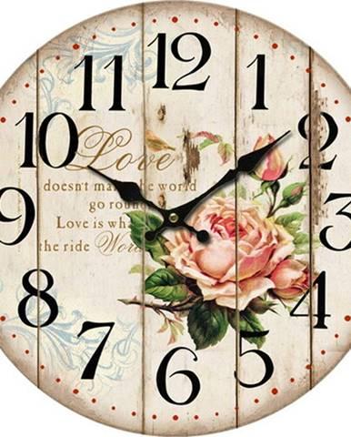 Drevené nástenné hodiny Flower of love, pr. 34 cm