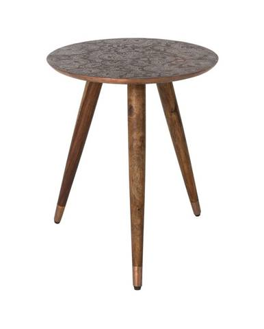 Medený odkladací stolík Dutchbone Bast, ⌀ 40 cm