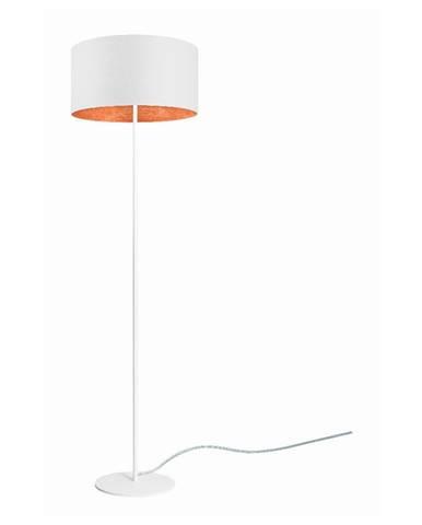 Biela stojacia lampa s detailom v medenej farbe Sotto Luce Mika, ⌀ 40 cm