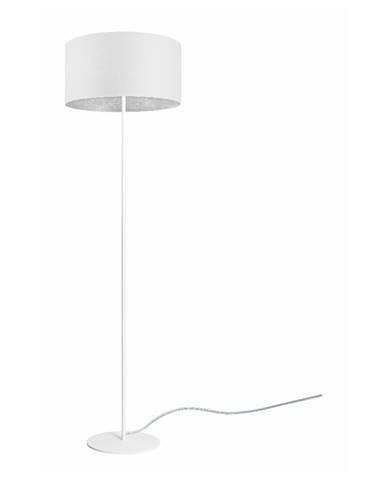 Biela stojacia lampa s detailom v striebornej farbe Sotto Luce Mika, ⌀ 40 cm