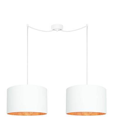 Biele dvojité stropné svietidlo s detailmi v bronzovej farbe Sotto Luce MIKA Elementary
