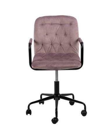 Ružová kancelárska stolička so zamatovým povrchom Actona Wendy