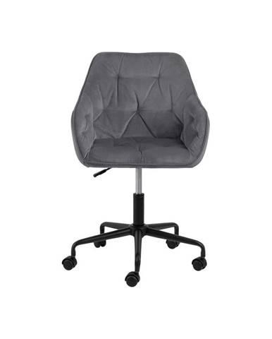 Sivá kancelárska stolička so zamatovým povrchom Actona Brooke