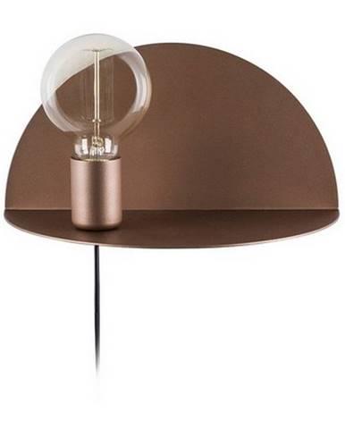 Hnedé nástenné svietidlo s poličkou Homemania Decor Shelfie, dĺžka 15 cm