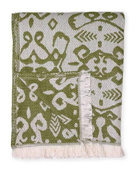Euromant Tmavozelený pléd s podielom bavlny Euromant Summer Linen, 140 x 180 cm