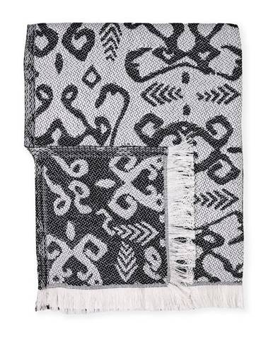 Čierný pléd s podielom bavlny Euromant Summer Mykonos, 140 x 180 cm