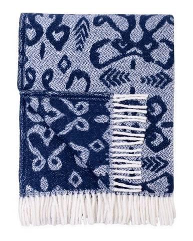 Modrý pléd s podielom bavlny Euromant Mykonos, 140 x 180 cm