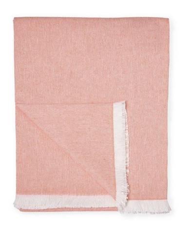 Oranžový pléd s podielom bavlny Euromant Summer Linen, 140 x 180 cm