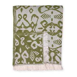 Tmavozelený pléd s podielom bavlny Euromant Summer Linen, 140 x 180 cm