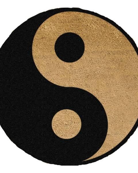 Artsy Doormats Čierna okrúhla rohožka z prírodného kokosového vlákna Artsy Doormats Yin Yang, ⌀ 70 cm