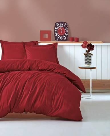 Červené obliečky s plachtou na dvojlôžko Stripe, 200×220 cm