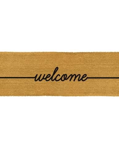 Čierna dlouhá rohožka z prírodného kokosového vlákna Artsy Doormats Welcome, 120 x 40 cm