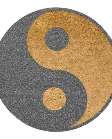 Sivá okrúhla rohožka z prírodného kokosového vlákna Artsy Doormats Yin Yang, ⌀ 70 cm