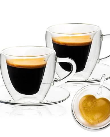 4Home Termo pohár šálka s podšálkou Heart Hot&Cool, 150 ml, 2 ks
