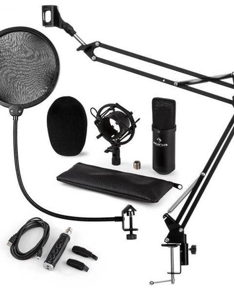 Auna Auna CM001B mikrofónová sada V4 kondenzátorový mikrofón, USB adaptér, mikrofónové rameno, pop filter, čierna farba