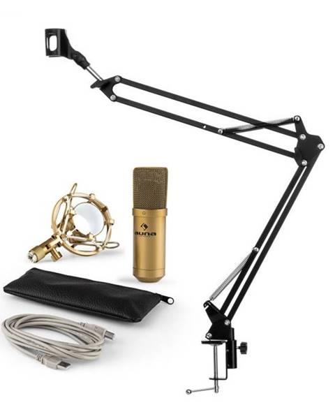 Auna Auna MIC-900G V3, mikrofónová sada, USB kondenzátorový mikrofón, rameno, kardioidná ch., zlatá farba