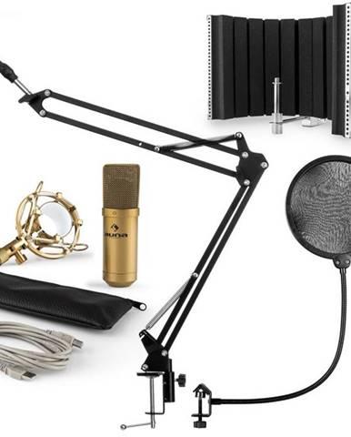 Auna MIC-9005G V5, mikrofónová sada, kondenzátorový mikrofón, pop-filter, resorpčný panel, rameno, zlatá farba