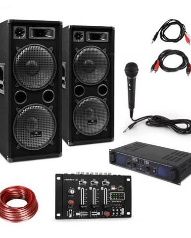 Skytec SPL700EQ, sada so zosilňovačom, 2 reproduktormi, BT mixážnym pultom a mikrofónom