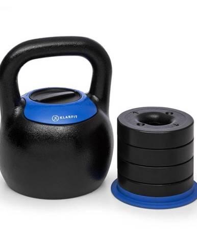 KLARFIT Adjustabell, nastaviteľný kettlebell, 16/18/20/22/24 kg, čierny/modrý