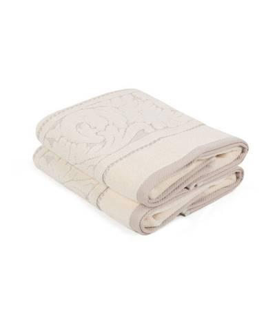 Sada 2 béžových uterákov z bavlny Sultan, 50×90 cm