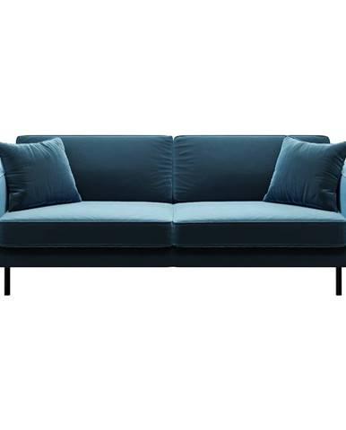 Modrá zamatová pohovka MESONICA Kobo, 207 cm