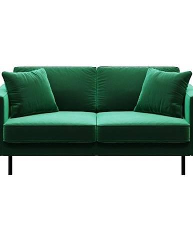 Zelená zamatová pohovka MESONICA Kobo, 167 cm